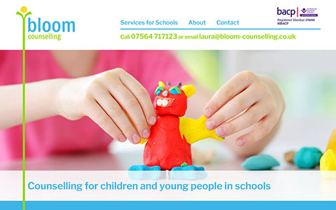 Bloom Counselling responsive WordPress 5 single page site with static menu and parallax images