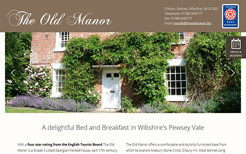 The Old Manor B&B single page website